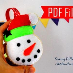 DIY Snowman Christmas Ornament PDF Cookie Sewing pattern , Kids craft Project MariaPalito A872