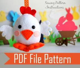 Chick Chicken Sewing pattern - PDF ePATTERN plush Ornament A572