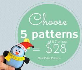 Choose 5 PDF Patterns (of 7 dollars or less) for 28 dollars