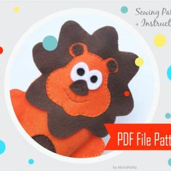 Lion Hand Puppet Sewing pattern - PDF ePATTERN Instant Download A376