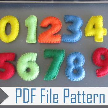 Numbers, Learning the Numbers from 1 to 9 DIY PDF Sewing Pattern, Make your Own Felt Numbers A807
