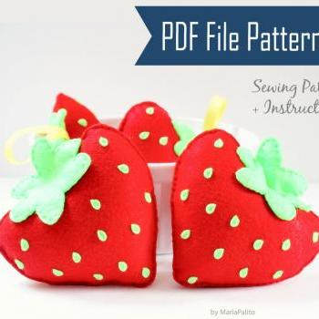 Strawberry DIY Sewing Pattern, Felt Strawberry Plush Kids craft Project PDF Pattern Instant Download A869